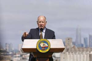 California Governor Jerry Brown delivers remarks before signing a package of affordable housing bills, on Fri. Sept. 29, 2017, at the Hunter's View affordable housing community, in San Francisco, Ca.