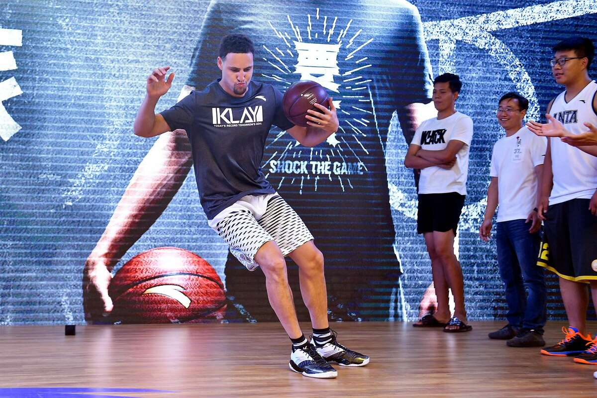 SHENYANG, CHINA - JUNE 26: NBA player Klay Thompson of the Golden State Warriors meets fans at Happy Family Mall on June 26, 2017 in Shenyang, China. (Photo by VCG/VCG via Getty Images)