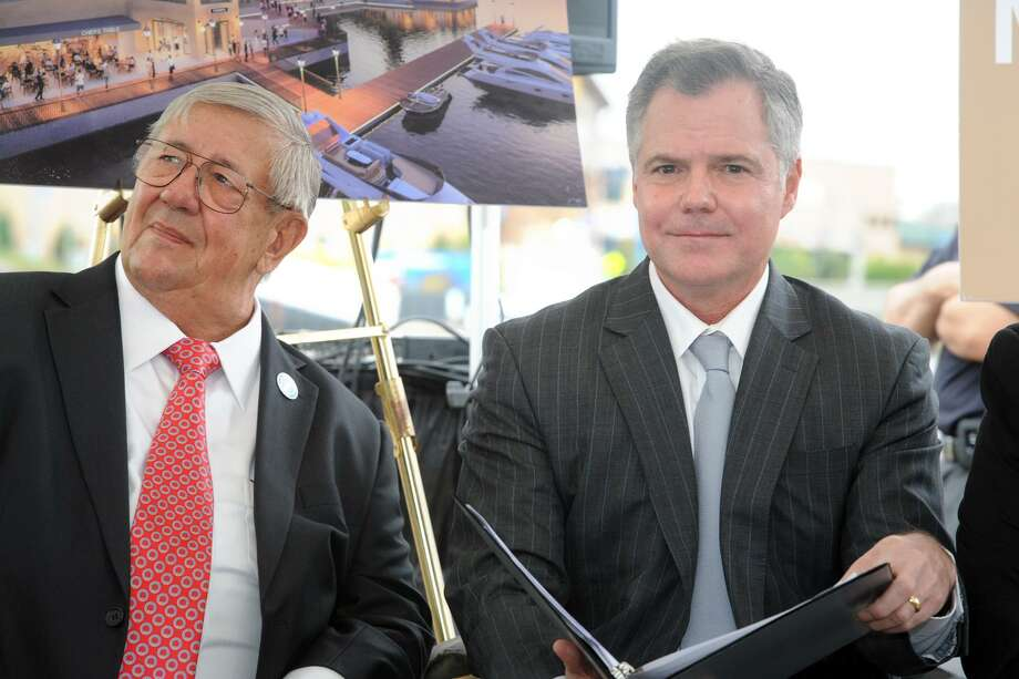 Jim Murren, right, Chairman and Chief Executive Officer of MGM Resorts International attends an event announcing MGM Bridgeport, a new waterfront casino and entertainment complex to be built in Bridgeport, Conn. Sept. 18, 2017. Murrne is seen here with Robert W. Christoph, Sr., Chairman of the RCI Group Photo: Ned Gerard / Hearst Connecticut Media / Connecticut Post