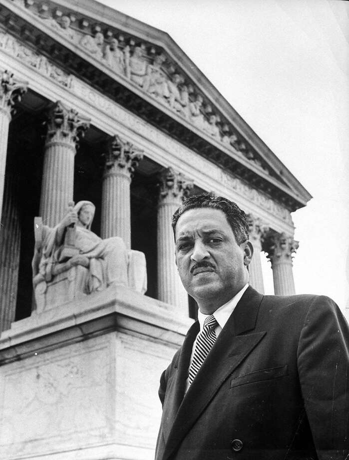 NAACP chief counsel Thurgood Marshall in serious portrait outside Supreme Court Building in 1955. Photo: Hank Walker, The LIFE Picture Collection/Getty