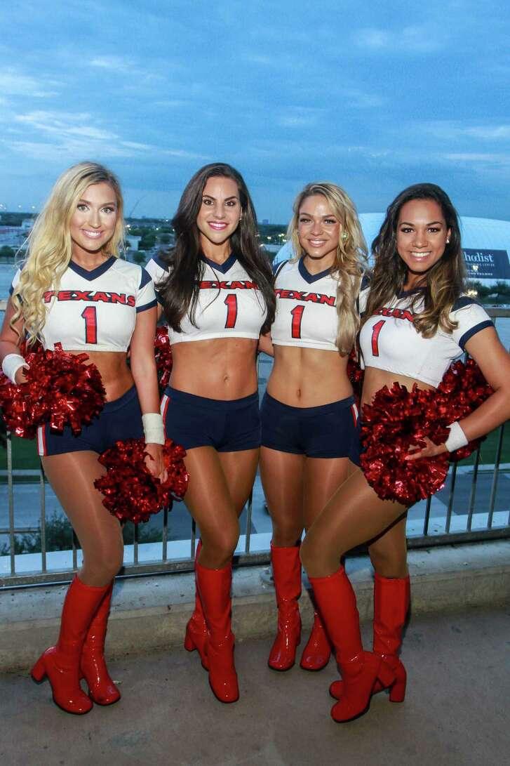 Texan cheerleaders Hannah, from left, Jackie, Meagan and Ashlyn