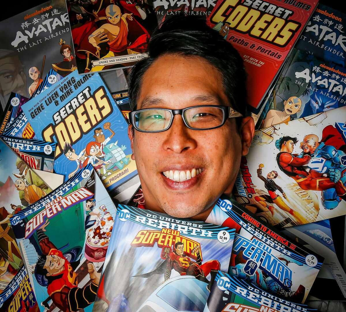 Gene Luen Yang poses for a portrait at Illusive Comics bookstore in Santa Clara, California, on Monday, Sept. 11, 2017. Gene Luen Yang is a Bay Area-based, award-winning author who has twice been nominated for the National Book Award for his graphic novels/comic books.