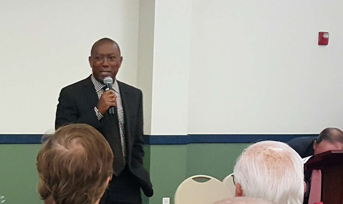 Houston Mayor Sylvester Turner discusses flood relief and mitigation efforts during the Harvey Recover Information Session at Kingwood Community Center on Thursday, Sept. 28.
