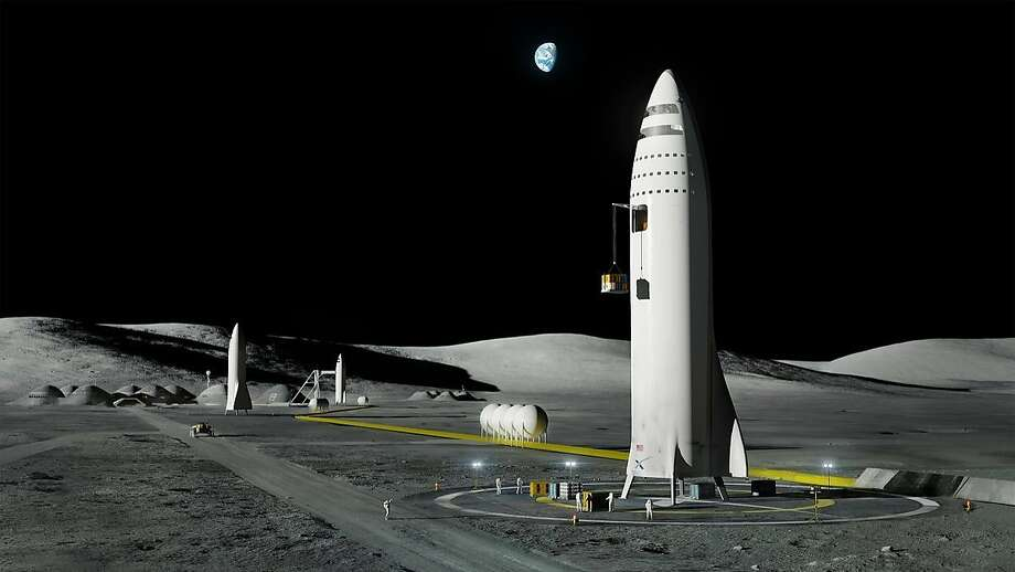 This artist's rendering made available by Elon Musk on Friday, Sept. 29, 2017 shows SpaceX's new mega-rocket design on the Earth's moon. With the 350-foot-tall spacecraft, Musk announced that his private space company aims to launch two cargo missions to Mars in 2022. (SpaceX via AP) Photo: Associated Press