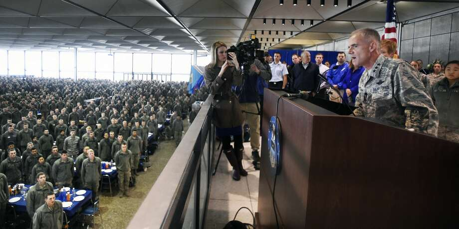 Lt. Gen. Jay Silveria, gives a speech about race relations to U.S. Air Force cadets during lunch, Friday, Sept. 29, 2017 at the Air Force Academy in Colorado Springs, Colo. Silveria, the leader of the Air Force Academy delivered a poignant and stern message on race relations in a speech to thousands of cadets after someone wrote racial slurs on message boards outside the dorm rooms of five black students. (Jerilee Bennett/The Gazette via AP) Photo: Jerilee Bennett/Associated Press