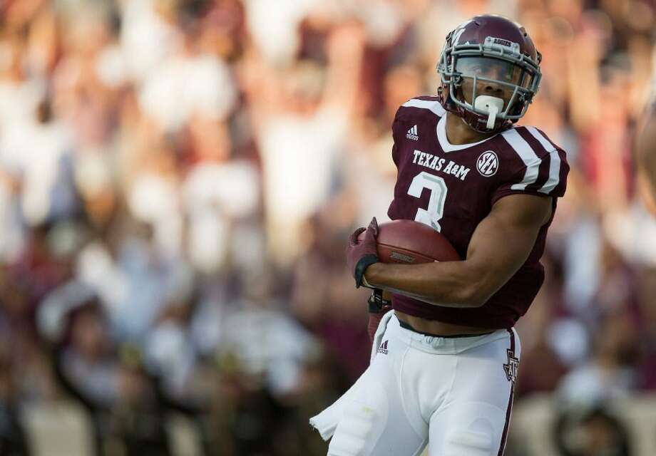 Texas A&M wide receiver Christian Kirk turns into the end zone after catching a pass for a touchdown against Nicholls State during the first quarter of an NCAA college football game Saturday, Sept. 9, 2017, in College Station, Texas. Photo: Sam Craft /AP Photo