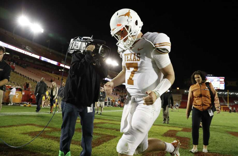 Quarterback Shane Buechele of the Texas Longhorns exits the field after defeating the Iowa State Cyclones 17-7 at Jack Trice Stadium on September 28, 2017 in Ames, Iowa. The Texas Longhorns won 17-7. Photo: David Purdy /Getty Images / 2017 Getty Images