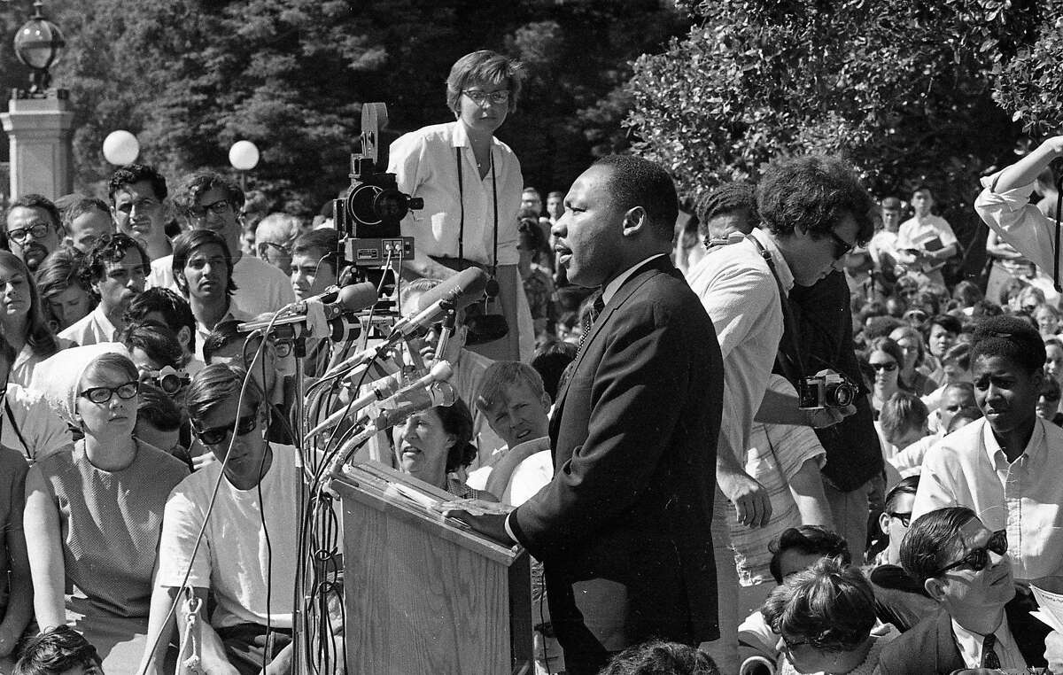 Martin Luther King Jr. speaks at U.C. Berkeley on May 17, 1967. The Upper Sproul Plaza speech about the Vietnam War drew thousands of students.