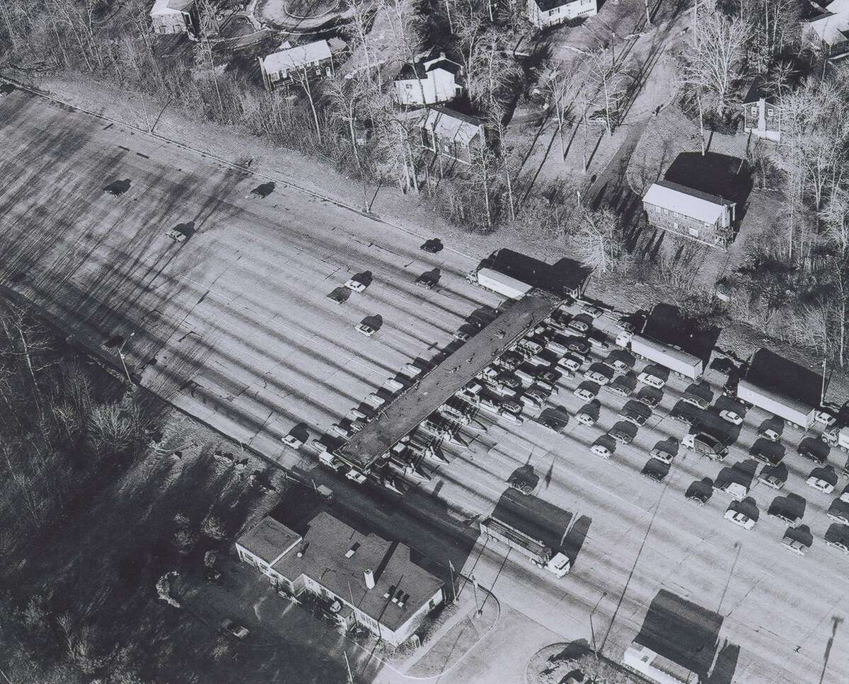 The Norwalk toll plaza, on I-95. Tolls plazas on the Connecticut Turnpike were removed in 1985. Morgan Kaolian AEROPIX