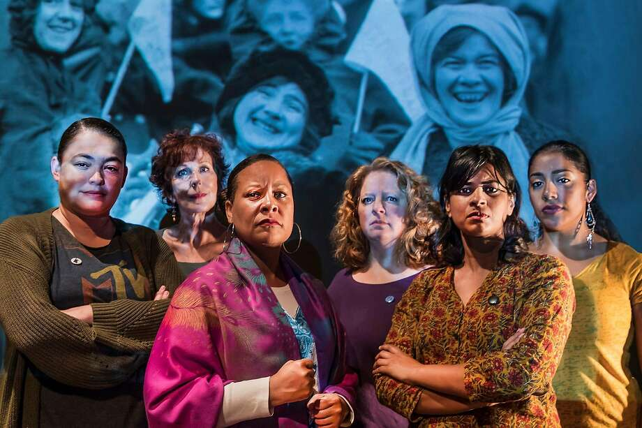 "Renee Rogoff (left), Milissa Carey, Nicol Foster, Gwen Loeb, Radhika Rao and Regina Morones march for democracy, then and now, in Central Works' ""Strange Ladies."" Photo: J. Norrena, Central Works"