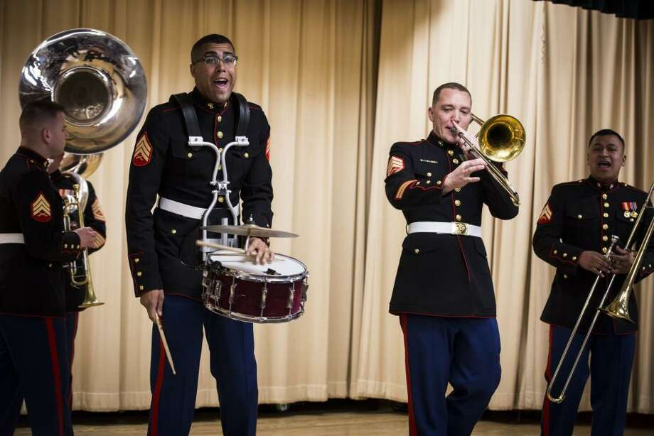 The Quantico Marine Corps Band will give two free concerts at the Klein Memorial Auditorium during a weekend of Columbus Day events in Bridgeport Oct. 6-8. Photo: Quantico Marine Corps Band / Contributed Photo