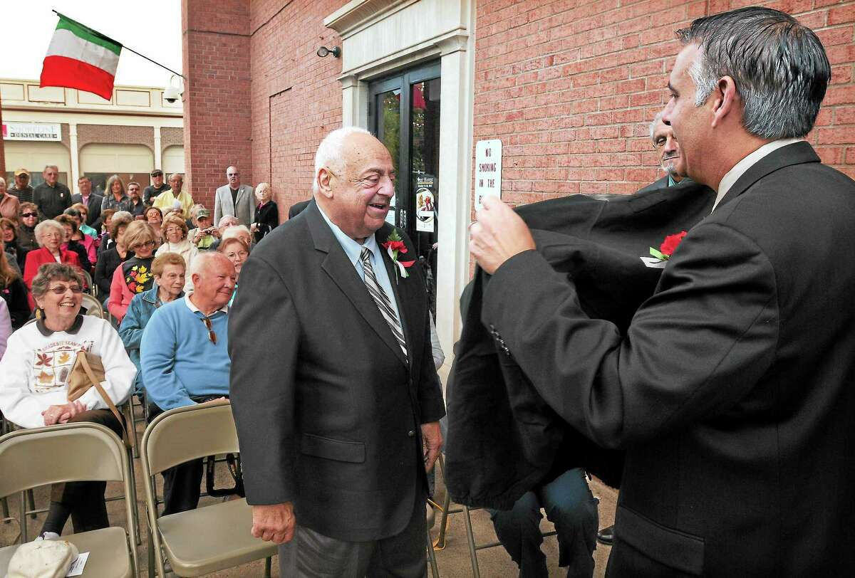 The City of West Haven Columbus Day celebration in 2013 honored Joseph Consorte Sr. as the Italian-American of the Year. Then-Mayor John Picard presents Consorte with a jacket. The Greater New Haven Columbus Day Parade will step off in West Haven this year on Sunday, Oct. 8.