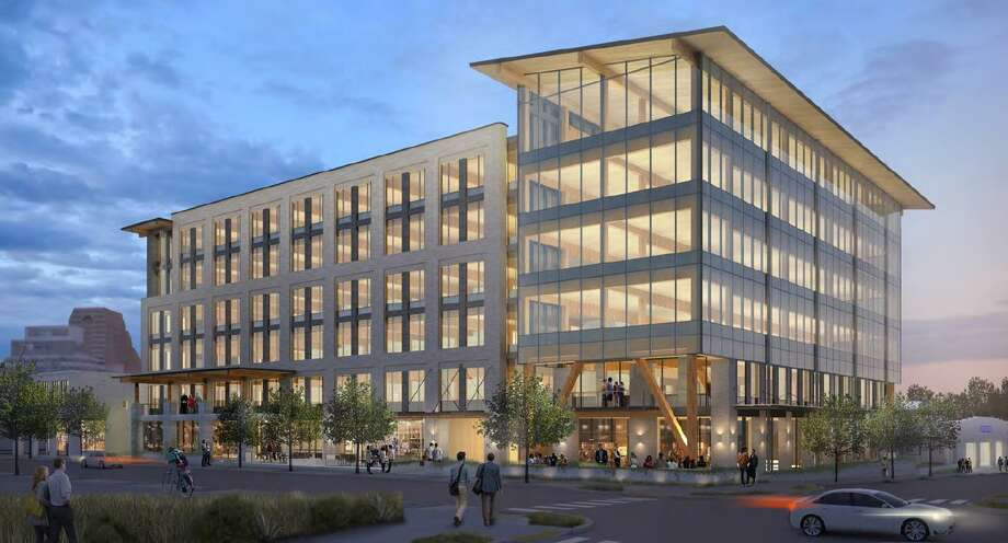 Local developer Hixon Properties is partnering with the Cavender auto family to build a six-story office building on Broadway — the first phase of a new neighborhood they plan to construct on land they own along the downtown thoroughfare. Photo: Courtesy Hixon Properties