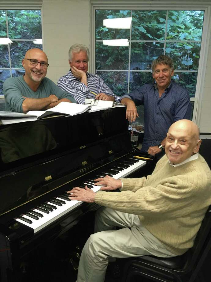 From left, Rob Ruggiero, David Thompson, Stephen Schwartz and Charles Strouse during a rehearsal. Photo: Elisa Hale / Goodspeed