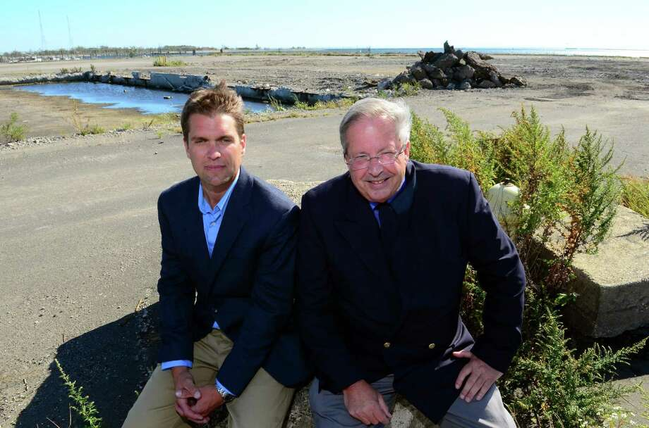 Bridgeport & Port Jefferson Steamboat Company Operations Manager Justin Ballotte, left, and Vice President and General Manager Fred Hall pose at the future site of the company's ferry boat terminal off of Seaview Avenue in Bridgeport, Conn. on Thursday Sept. 28, 2017. Photo: Christian Abraham / Hearst Connecticut Media / Connecticut Post