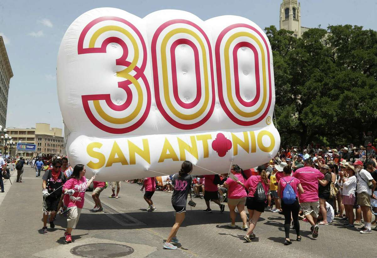 Celebrating the 300-San Antonio Tricentennial Celebration at the Battle of Flowers Parade on Friday, April 28, 2017.