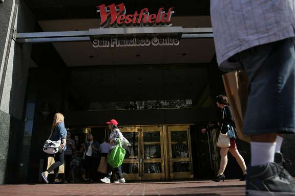 Pedestrians on Market Street walk past an entrance to Westfield San Francisco Centre on Friday, September 25, 2015 in San Francisco, Calif.