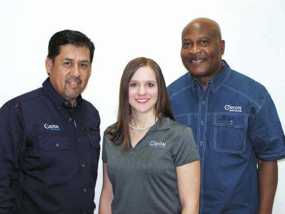 Orion Water Solutions' Midland team: From left, Joe Paredes, Melissa   Robinson and Phillip Ward can help you get the most efficient and   effective produced water treatment system for use in fracturing or other   uses. Call them at 432-219-8100. Photo: Paul Wiseman