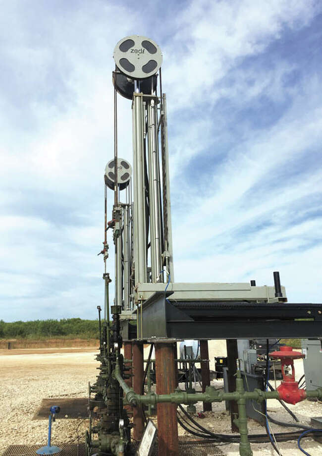 """Zedi's linear hydraulic pumping units, the Zedi SilverJack SJ 8000,  offer remotely adjustable stroke length and speed, stroke lengths of up  to 240"""" and a small footprint. Call Zedi's Midland office at  432-242-3041. Photo: Courtesy Photo"""