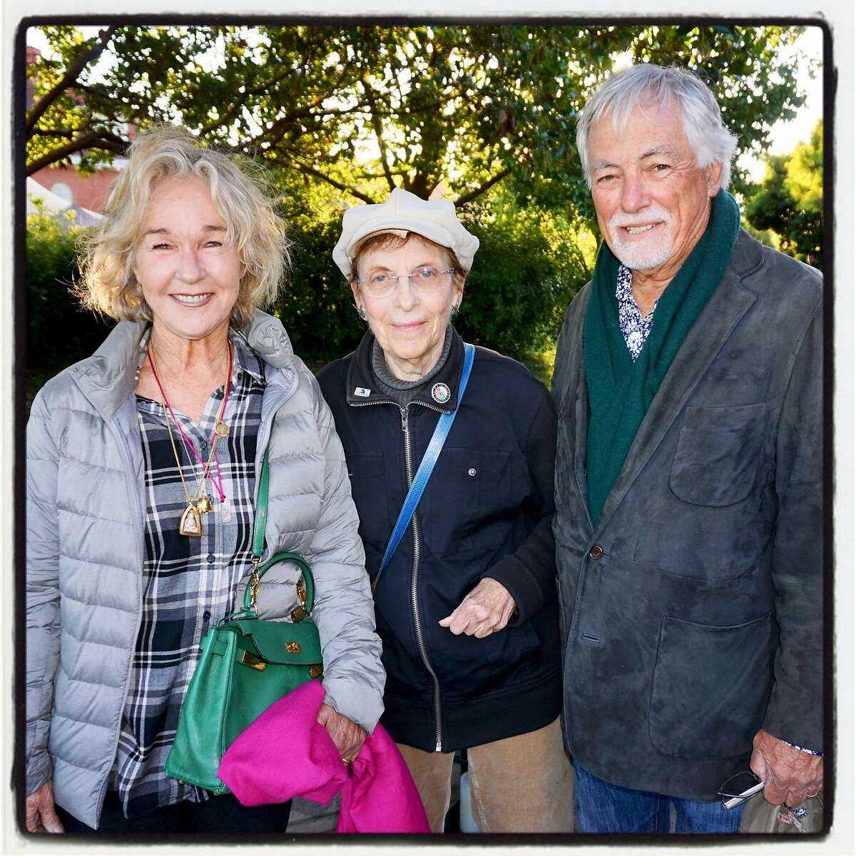 Susie Buell (left) with parks conservationist Amy Meyer and St. Mark of the Parks Buell at the Trails Forever Dinner. Sept. 23. 2017.