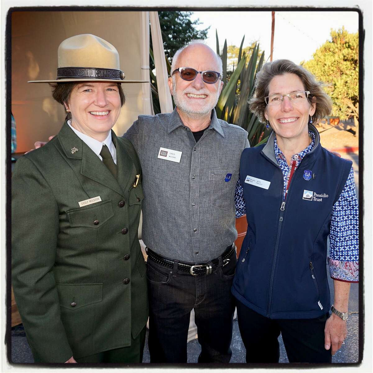 GGNRA Acting Superintendent Cicely Muldoon (left) with GGNPC's Greg Moore and Presidio Trust CEO Jean Fraser at the Trails Forever Dinner. Sept. 23. 2017.