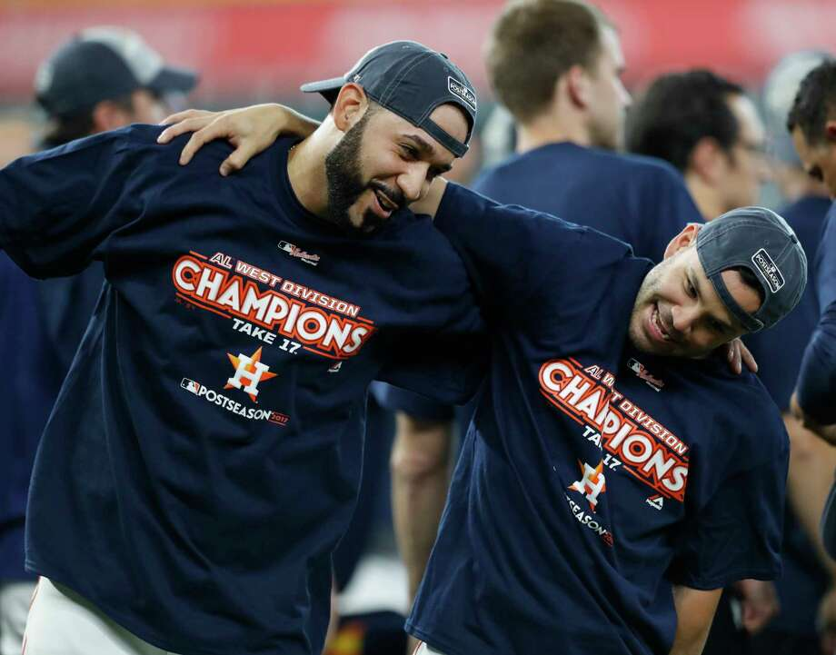 PHOTOS: How Astros spent their offseason, according to Instagram  Jose Altuve (27) and Marwin Gonzalez (9), celebrating after clinching the American League West two weeks ago, have seen the highs and lows of Astros in their Houston careers. ( Karen Warren / Houston Chronicle )  >>>Browse through the photos to see how Houston Astros players spent their offseason by looking at their Instagram pages ...  Photo: Karen Warren, Staff / @ 2017 Houston Chronicle