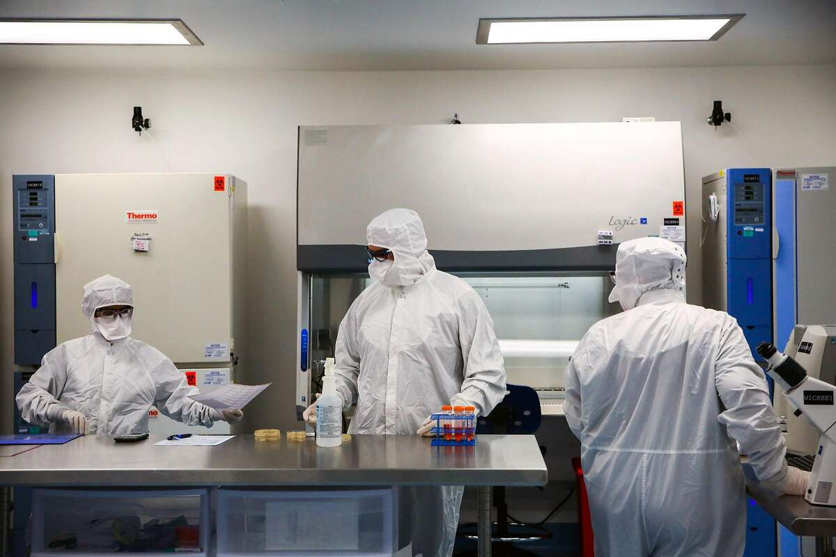 (l-r) Scientists Kuldeep Kaur, Peter Llontop and Heather Jones work together doing stem cell research at Asterias Biotherapeutics in Fremont, Calif., on Wednesday, Sept. 6, 2017.