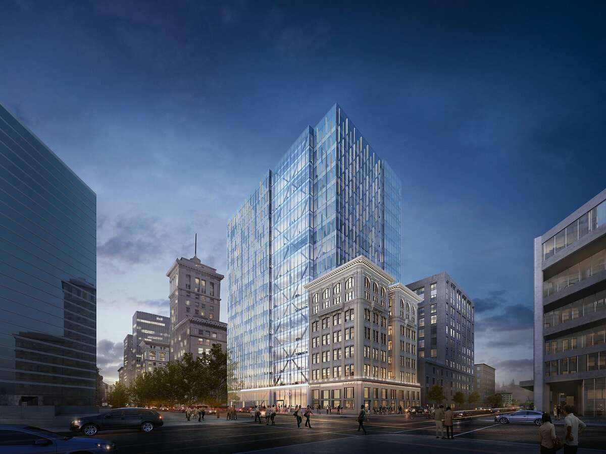 A rendering of the proposed 1100 Broadway project in downtown Oakland. It includes an 18-story office tower and the restoration of the Key Building from 1907.