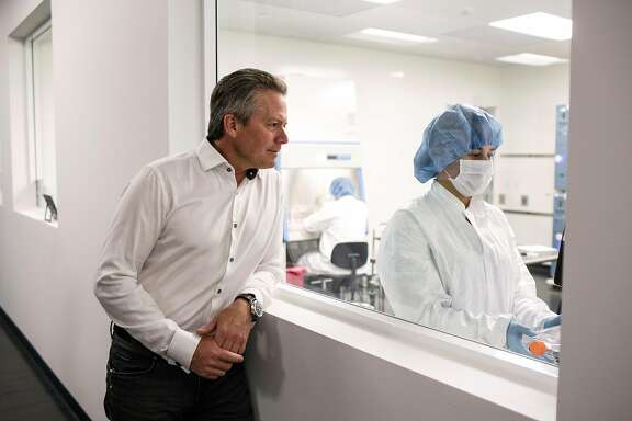 Stem-cell researcher, Hans Keirstead, left, looks towards Cell Culture Technician Mele Meyer, right, while at his lab, AIVITA Biomedical on August 30, 2017, in Orange County, Calif. Motivated by a desire to create more incentives within the health-care system and concerns with the current political landscape, Keirstead is running for congress in the 48th District in Southern California.