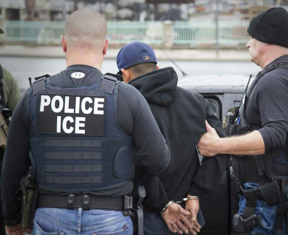 Foreign nationals are arrested during a targeted enforcement operation conducted by U.S. Immigration and Customs Enforcement earlier this year. A 12 percent drop in deportations has occurred even as the number of migrants ICE agents have arrested since Trump took office in January jumped by 43 percent to some 97,500 compared to the same time frame in 2016. Photo: U.S. Immigration And Customs Enforcement / Public Domain Charles Reed/U.S. Immigration and Customs Enforcement