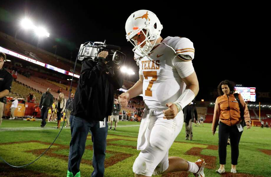 Quarterback Shane Buechele found the right holes in the Iowa State defense in the Longhorns' win over Iowa State.   Photo: David Purdy, Stringer / 2017 Getty Images