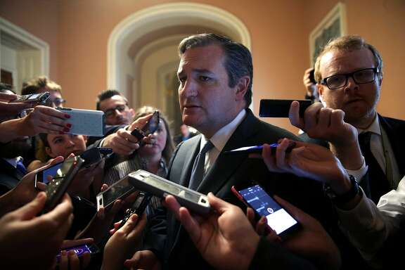 WASHINGTON, DC - JULY 13:  U.S. Sen. Ted Cruz (R-TX) is surrounded by members of the media after he viewed the details of a new health care bill July 13, 2017 at the Capitol in Washington, DC. Senate Majority Leader Mitch McConnell (R-KY) has releaseed a new Republican health care plan today.  (Photo by Alex Wong/Getty Images)