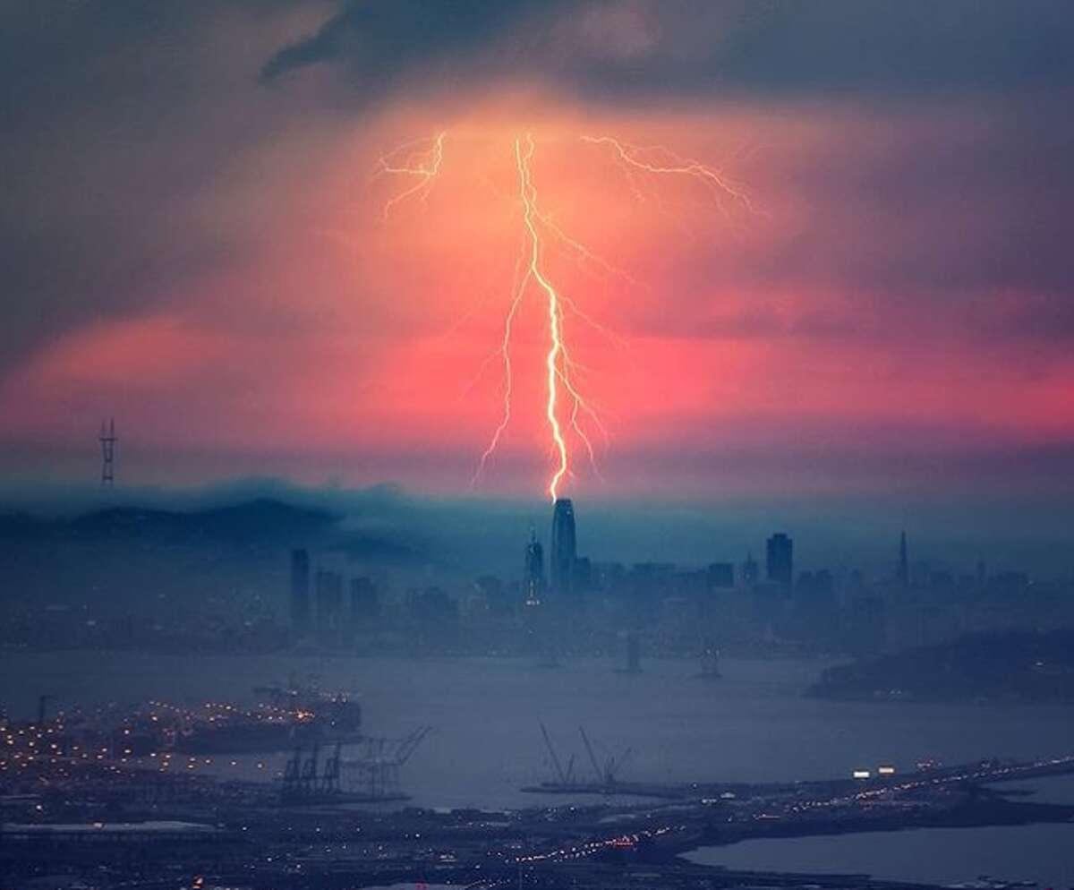 During a September 2017 lightning storm @vincentjamesphotography captured a photo of the Salesforce Tower being hit by a lightning bolt.