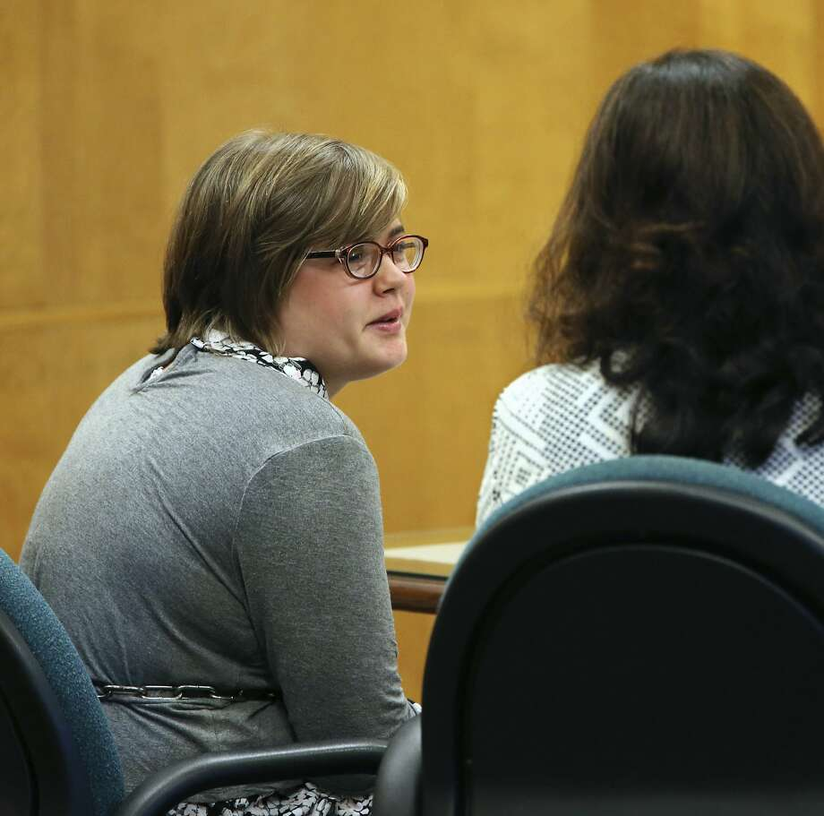 Morgan Geyser, left, one of two Wisconsin girls charged with stabbing a classmate to impress the fictitious horror character Slender Man, sits in a Waukesha County Courtroom with attorney Donna Kuchler, for a status hearing Friday, Sept. 29, 2017, in Waukesha, Wis. Geyser will plead guilty in a deal that calls for her to avoid prison time and instead receive treatment for mental illness, attorneys announced Friday.  (Michael Sear/Milwaukee Journal-Sentinel via AP, Pool) Photo: Michael Sears, Associated Press