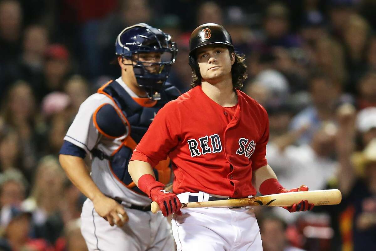 BOSTON, MA - SEPTEMBER 29: Andrew Benintendi #16 of the Boston Red Sox looks on after striking out in the eighth inning of a game against the Houston Astros at Fenway Park on September 29, 2017 in Boston, Massachusetts. (Photo by Adam Glanzman/Getty Images)