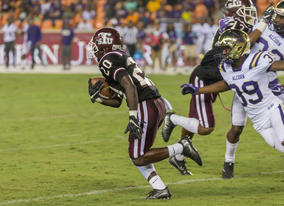 September 29, 2017:  Texas Southern Tigers wide receiver Daequan Jones (20) carries the ball during the college football game between the Alcorn State Braves and Texas Southern Tigers at BBVA Compass Stadium in Houston, Texas. (Leslie Plaza Johnson/Freelance Photo: Leslie Plaza Johnson/For The Chronicle