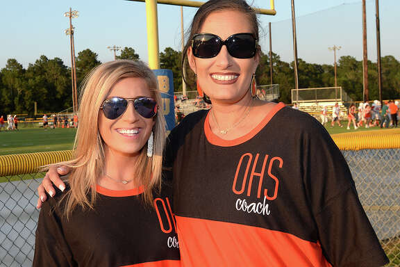 Caylin Choate and Angelique Catt were at Monsignor Kelly High School's game Friday against Orangefield. Photo taken Friday, September 29, 2017 Kim Brent/The Enterprise