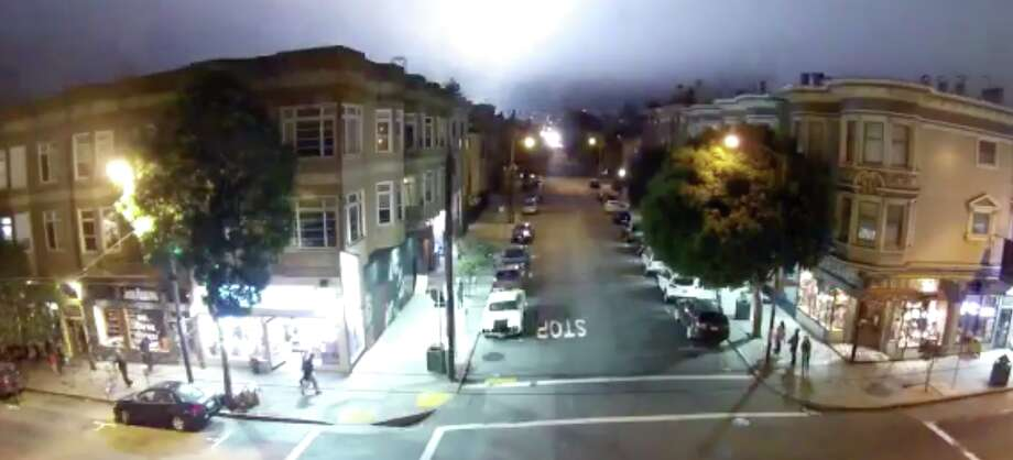The skies near San Francisco's Cole Valley neighborhood were illuminated on the night of Friday, Sept. 29, with bright, pulsating lights. Photo: Andrew Wooster