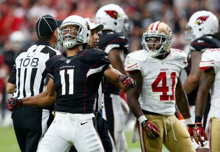 Arizona Cardinals wide receiver Larry Fitzgerald (11) celebrates a catch against the San Francisco 49ers during the second half of an NFL football game, Sunday, Sept. 21, 2014, in Glendale, Ariz. (AP Photo/Ross D. Franklin) Photo: Ross D. Franklin, Associated Press
