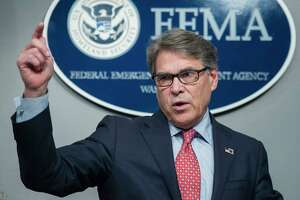 Energy Secretary Rick Perry delivers update on federal actions to support Hurricane Irma response in Washington, Friday, Sept. 15, 2017. (AP Photo/Cliff Owen)