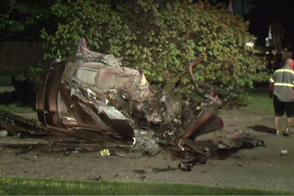 A man died Friday night after slamming his car into a tree in northwest Houston, according to authorities.