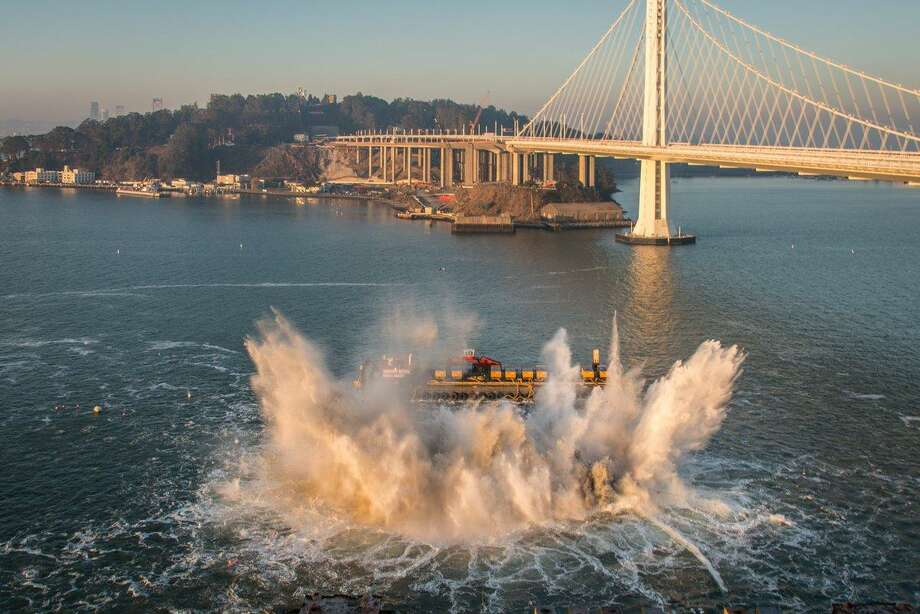 A demolition team will demolish two piers on the easter span of the bridge Saturday morning.