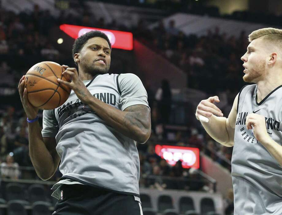 Rudy Gay pulls down a rebound in front of Davis Bertans during the Spurs' Silver & Black intrasquad scrimmage at the AT&T Center on Sept. 30, 2017. Photo: Tom Reel /San Antonio Express-News / 2017 SAN ANTONIO EXPRESS-NEWS