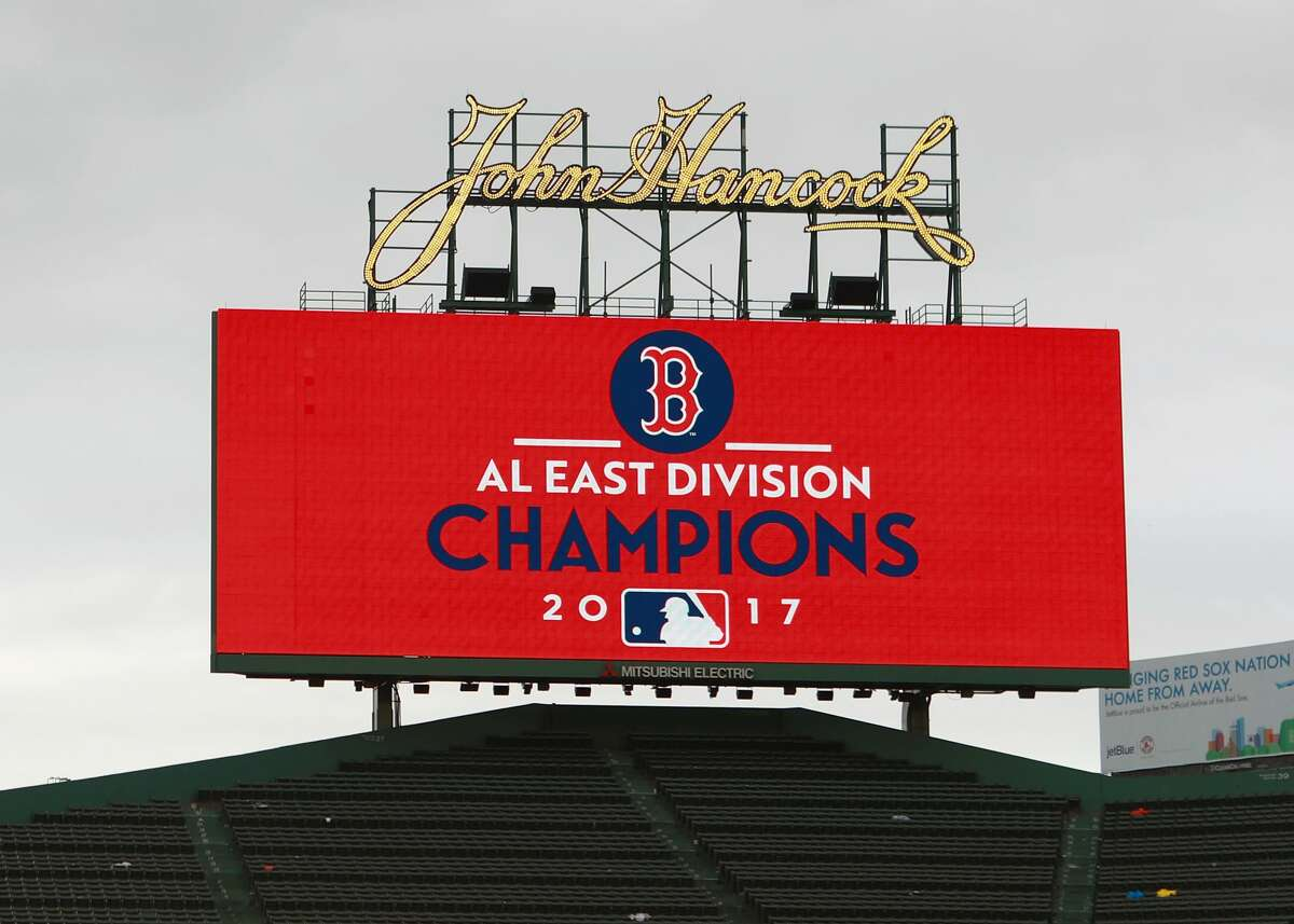 BOSTON, MA - SEPTEMBER 30: AL East Division Champions sign after the game against the Boston Red Sox and the Houston Astros at Fenway Park on September 30, 2017 in Boston, Massachusetts. (Photo by Omar Rawlings/Getty Images)