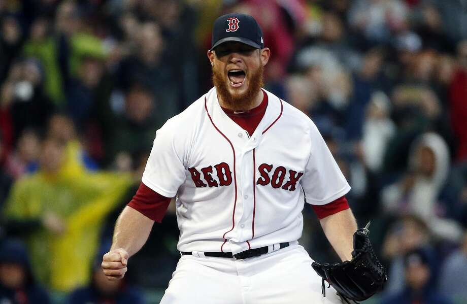 Boston Red Sox's Craig Kimbrel reacts after striking out Houston Astros' George Springer to clinch the American League East Division championship in a baseball game in Boston, Saturday, Sept. 30, 2017. (AP Photo/Michael Dwyer) Photo: Michael Dwyer/Associated Press