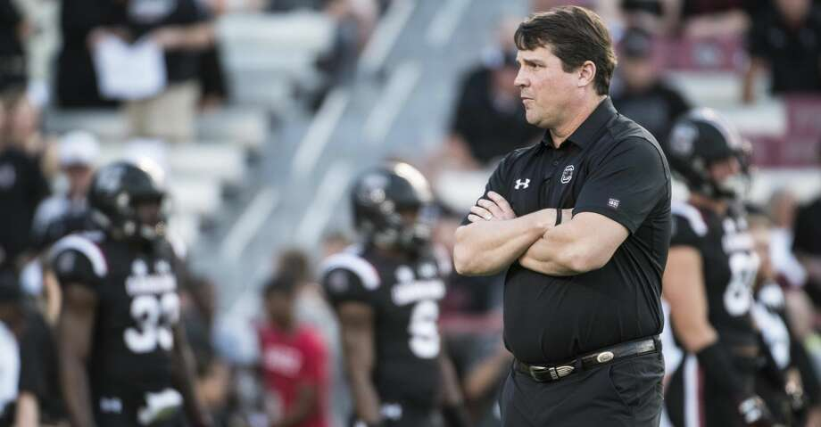 South Carolina head coach Will Muschamp watches his team before kickoff of an NCAA college football game against Kentucky on Saturday, Sept. 16, 2017, in Columbia, S.C. Kentucky defeated South Carolina 23-13. (AP Photo/Sean Rayford) Photo: Sean Rayford/Associated Press