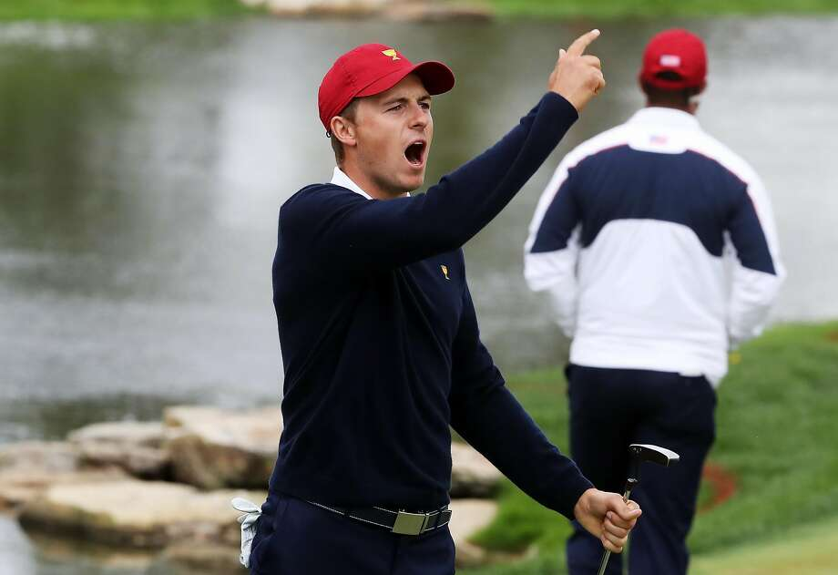Jordan Spieth of the U.S. was gung ho during his match, even surviving a hole disqualification on the way to victory. Photo: Sam Greenwood, Getty Images
