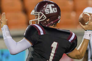 September 29, 2017:  Texas Southern Tigers quarterback Dominic DeLira (1) throws for a pass during the college football game between the Alcorn State Braves and Texas Southern Tigers at BBVA Compass Stadium in Houston, Texas. (Leslie Plaza Johnson/Freelance