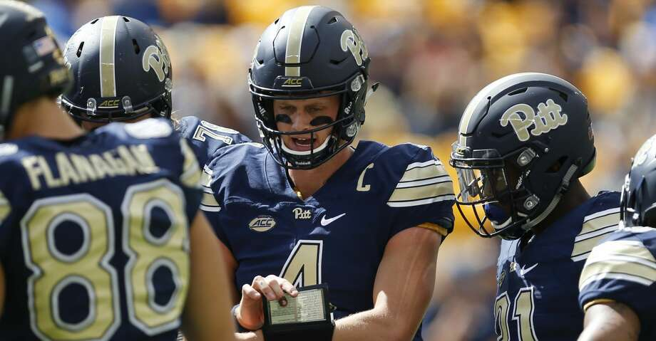 Pittsburgh quarterback Max Browne (4) plays against Rice in an NCAA college football game, Saturday, Sept. 30, 2017, in Pittsburgh. (AP Photo/Keith Srakocic) Photo: Keith Srakocic/Associated Press
