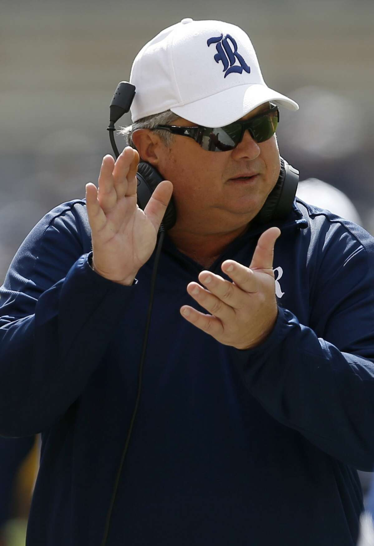 Rice head coach David Bailiff tries to get his team going during the first quarter of an NCAA college football game against Pittsburgh, Saturday, Sept. 30, 2017, in Pittsburgh. (AP Photo/Keith Srakocic)